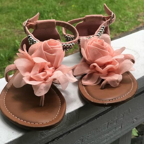 carrie Other - Carrie girls peach tulle flower sandal beading 3